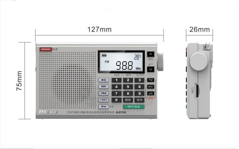 PANDA 6206 Três Banda DSP Rádio busca