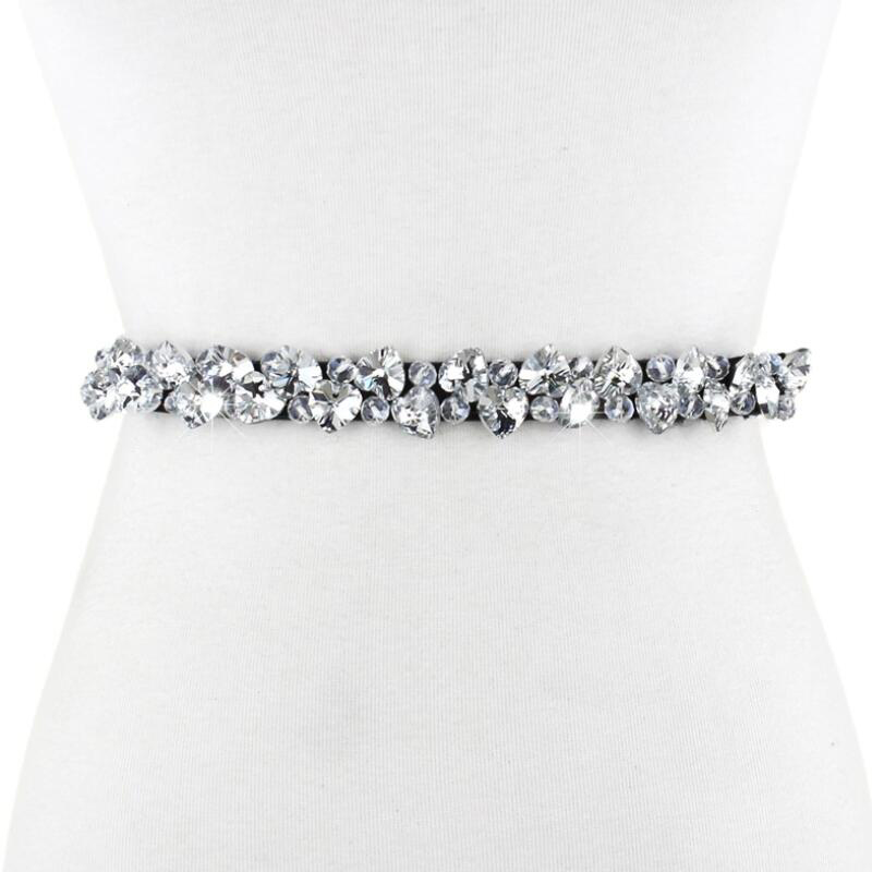 Fashion New High-Grade Crystal Women'S Belt Rhinestone Jeweled Belts Thin Fabric Elastic Bride Strap Waist Girdle Accessories