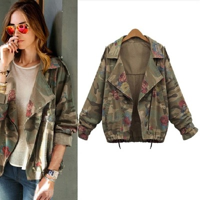 Trench-Coat Shortoveroat Womens Famale Floral YMFF01 Turn-Down-Collar Camouflage
