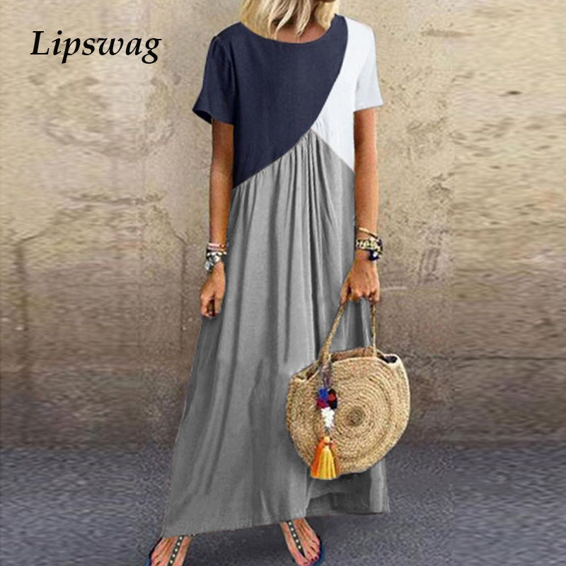 Lipswag 5XL Vintage Short Sleeve Long Dress Patchwork Casual Loose Plus Size Retro Maxi Dresses Women Summer O-neck Beach Dress