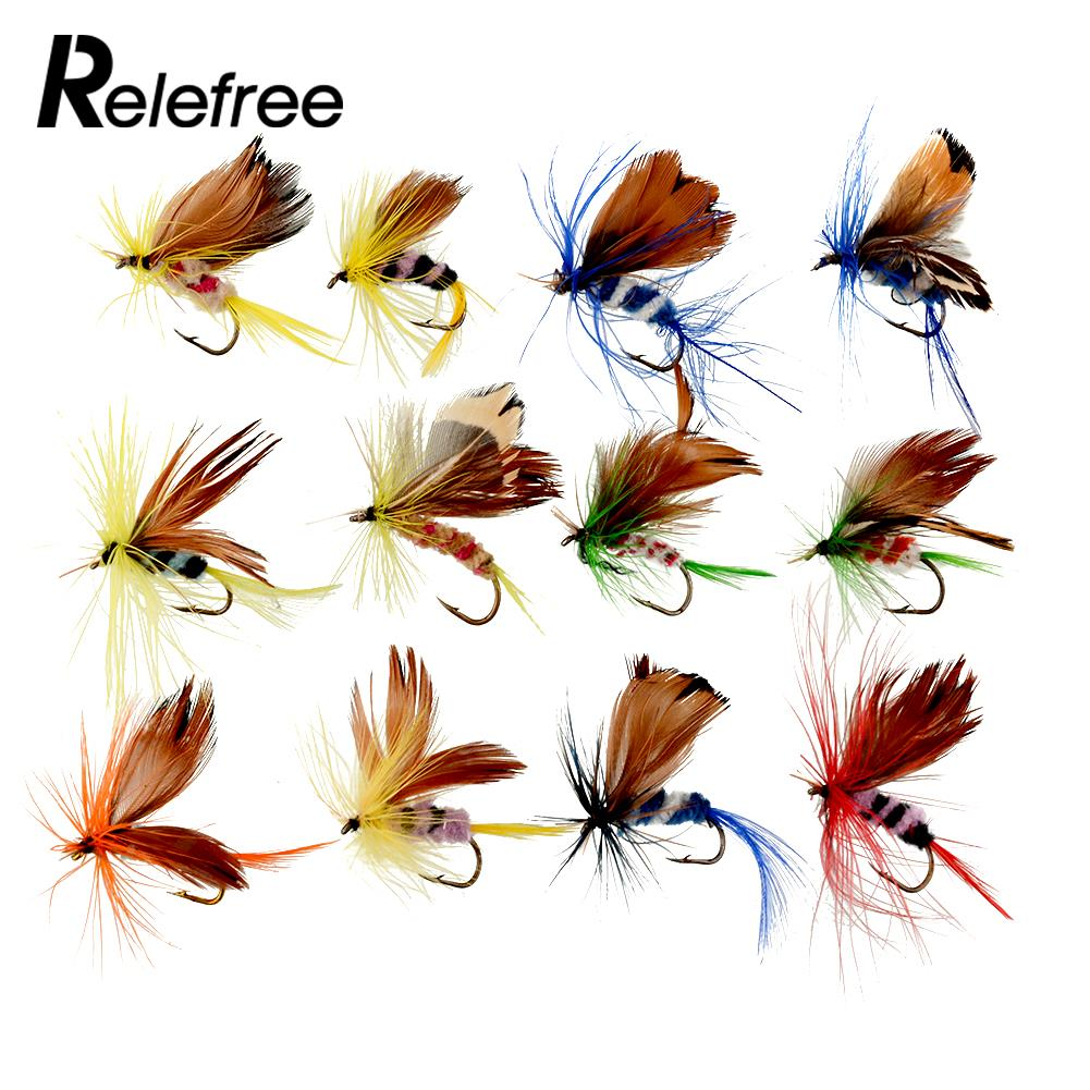 Relefree 12 Pcs/set Butterfly Style Dry Fly Hooks Fishing Trout Salmon Flies Fish Fly fishing Hooks Salmon Trout Single Hook