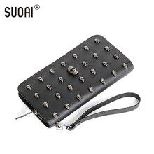 SUOAI Vintage Frauen Geldbörsen Schädel Langen Geldbeutel Rock Stil Mädchen Punk Brieftasche Weibliche Persönlich Geldbörse