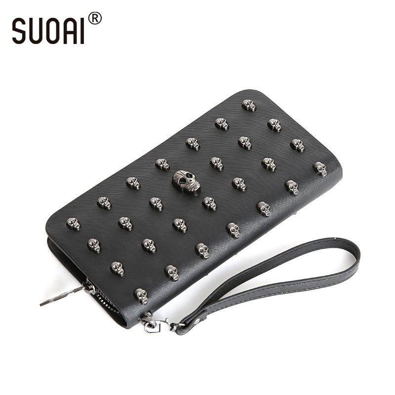SUOAI Vintage Women Wallets Skull Long Purse Rock Style Girls Punk Wallet Female Personally Purse 2017 hot selling women punk wallet high grade fashion vintage bag wallets skull head rivet purse handbag brand long purse new