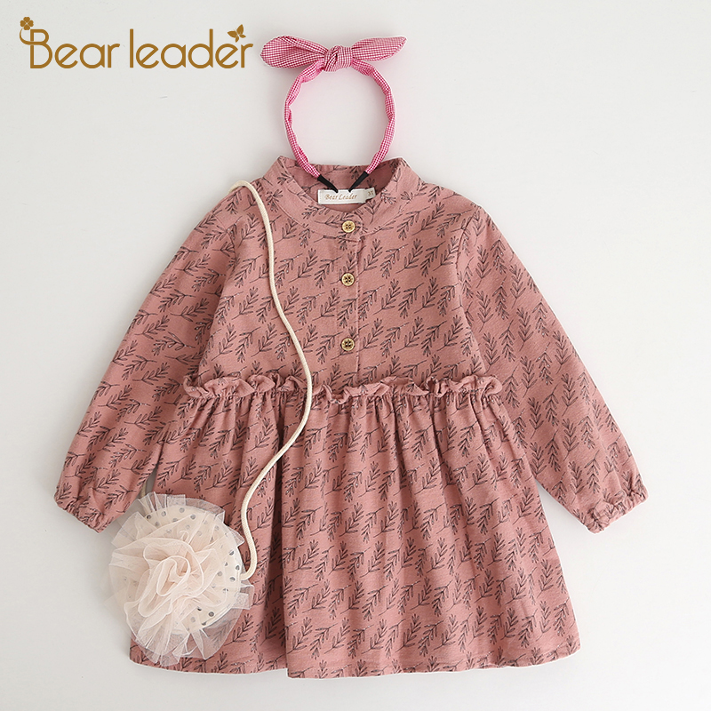 Bear Leader Girls Dress 2017 New Autumn Brand Girls Clothes Casual Style Small Grass Lace Dress Design Baby Girls Dress For 3-7Y girls dress autumn new 2018 casual