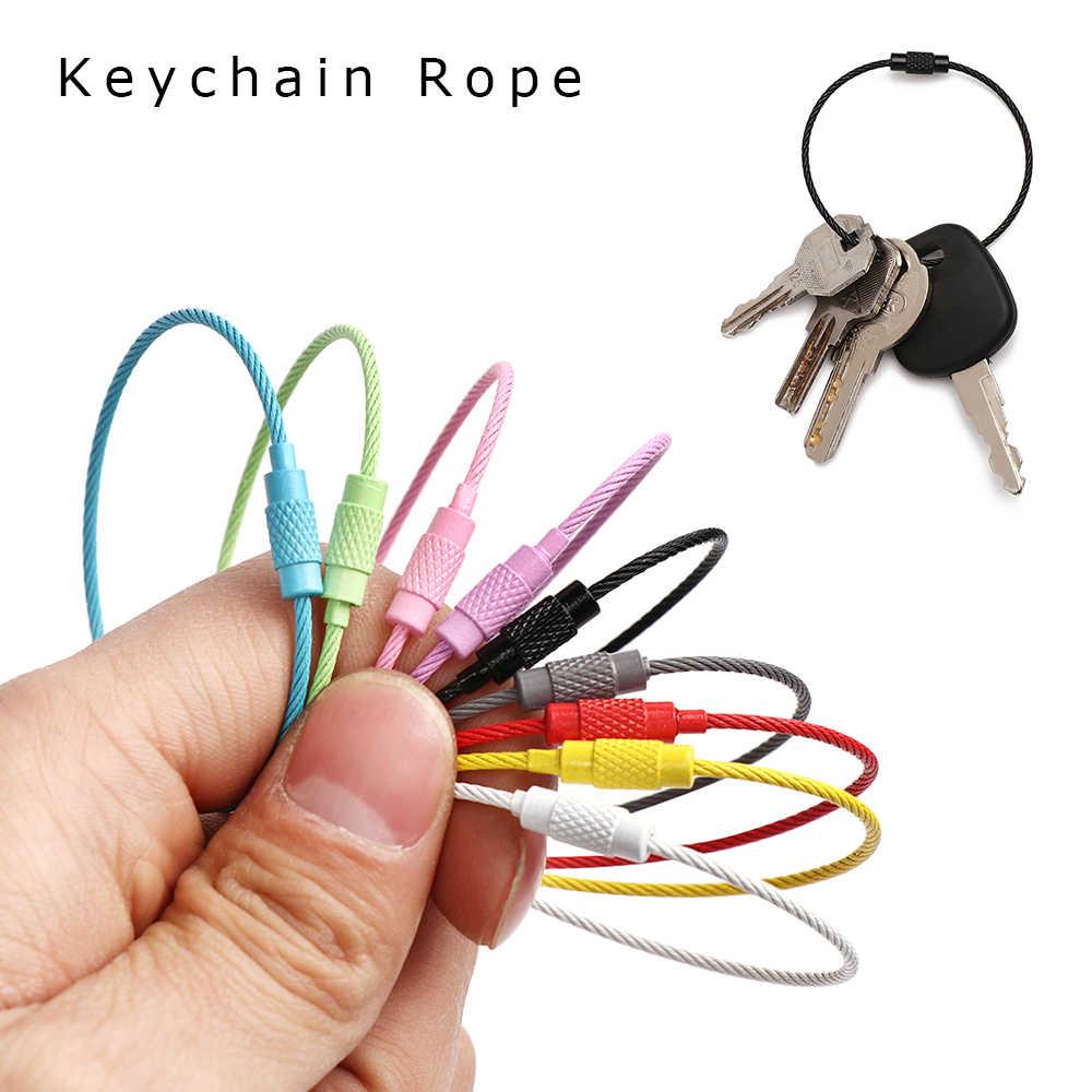 10 pièces/ensemble 150MM EDC nouveau porte-clés étiquette corde en acier inoxydable fil câble boucle vis serrure Gadget porte-clés cercle Camp bibelot Chaveiro