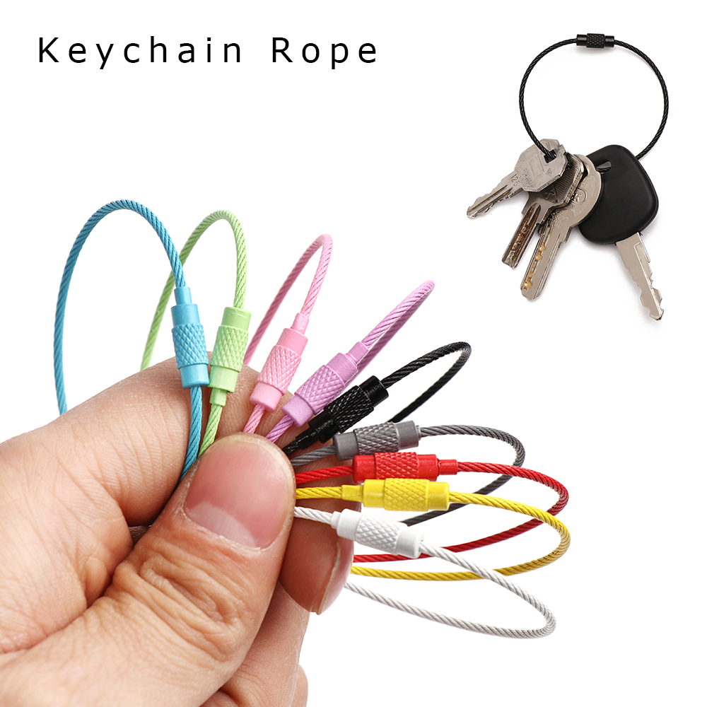10Pcs/Set 150MM EDC New Keychain Tag Rope Stainless Steel Wire Cable Loop Screw Lock Gadget Keyring Circle Camp Trinket Chaveiro