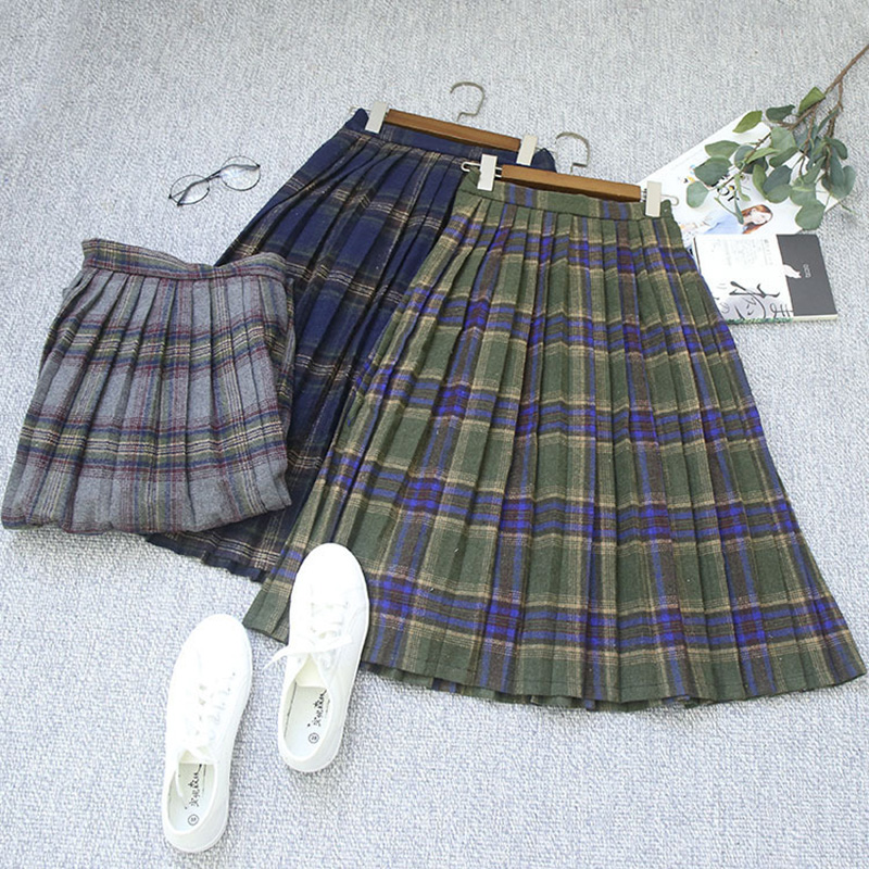 Women s Plaid Skirt New Autumn Winter Fashion Skirts Elastic Waist Vintage Woolen Plaid Skirts Pleated
