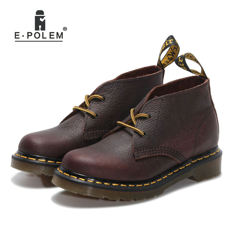 Trendy Women Unisex Genuine Leather Boots Shoes Work Martin Boots Platform Autumn Winter Vintage Casual Ankle Boots 2016 new martin male autumn and winter genuine leather platform medium leg mens equestrian vintage motorcycle boots