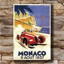 N0905 Vintage 1937 Grand Prix de Mónaco clásico Motor de carreras de 8x12 20x30x24x36 de seda del arte del cartel Poster La L-W lienzo impreso decorativo