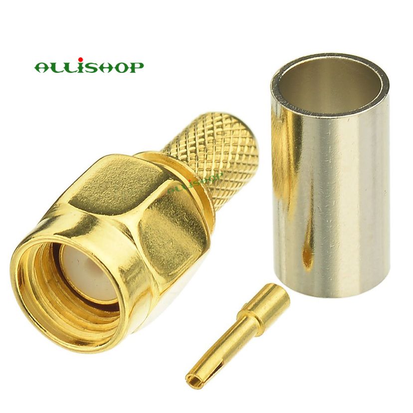 ALLiSHOP RP SMA Male Plug RF Coax Connector Crimp For RG58,LMR195,RG142,RG400 Cable Straight Goldplated RP SMA Male Adapter