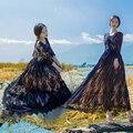 Осень женщины Старинные Моды сексуальный Черный Крючком Кружева Платье тонкий высокая талия леди платья LSQ-88-98