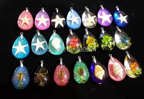 Free shipping,couple Resin sea star Insect Amber necklace Pendant, mix of styles