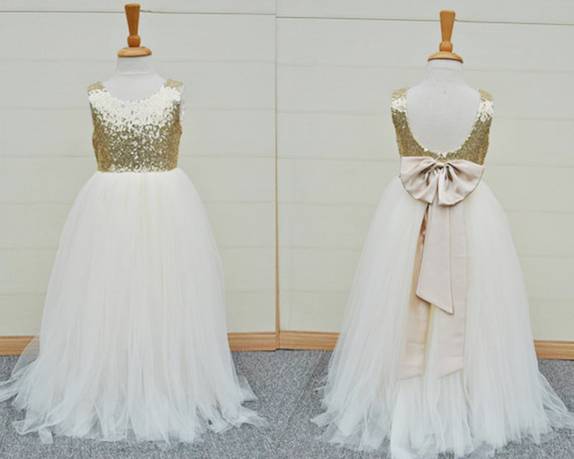 543711a30e Fashion Gold Sequins Flower Girls Dress Baby Infant Toddler Kids Dress  Junior Floor Length For Wedding Pageant Tulle Gowns-in Flower Girl Dresses  from ...