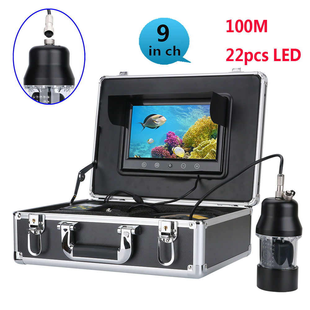 100m Professional Underwater Fishing Video Camera Fish Finder 9 Inch Color Screen Waterproof 22 Leds 360 Degree Rotating Camera
