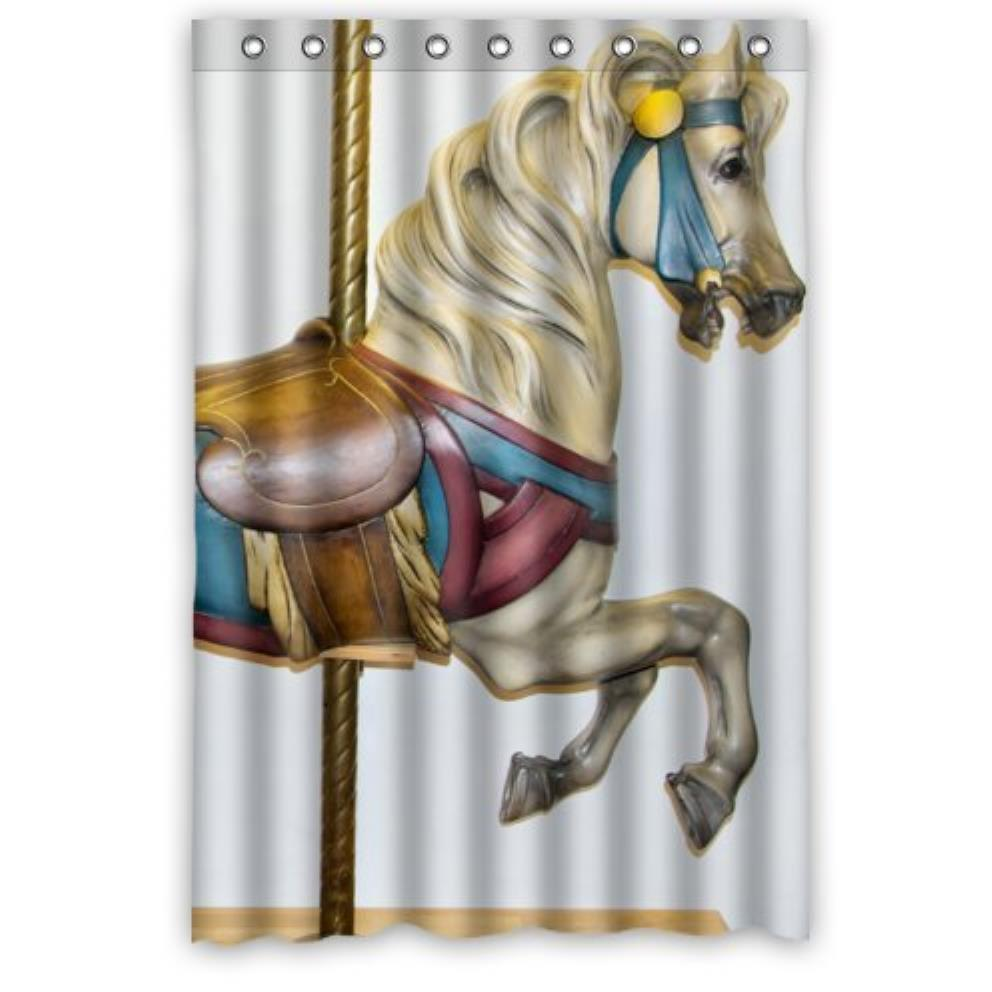 funny Carousel Horse Custom Shower Curtain Pattern Waterproof Fabric Shower Curtain For Bathroom 66*72inch