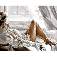 Painting By Numbers DIY Dropshipping 40x50 60x75cm Girl seaside holiday Figure Canvas Wedding Decoration Art picture Gift
