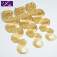 Vivace Human hair Virgin Hair Body Wave 100% Human Hair 3 Bundles Wave Remy Human Hair Weft Blonde #613