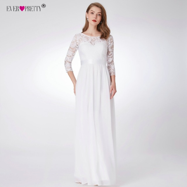 Ever Pretty Wedding Dresses New Elegant A-line Lace Long Beach Vintage Mariage Bridal Dress with Sleeve EP07412