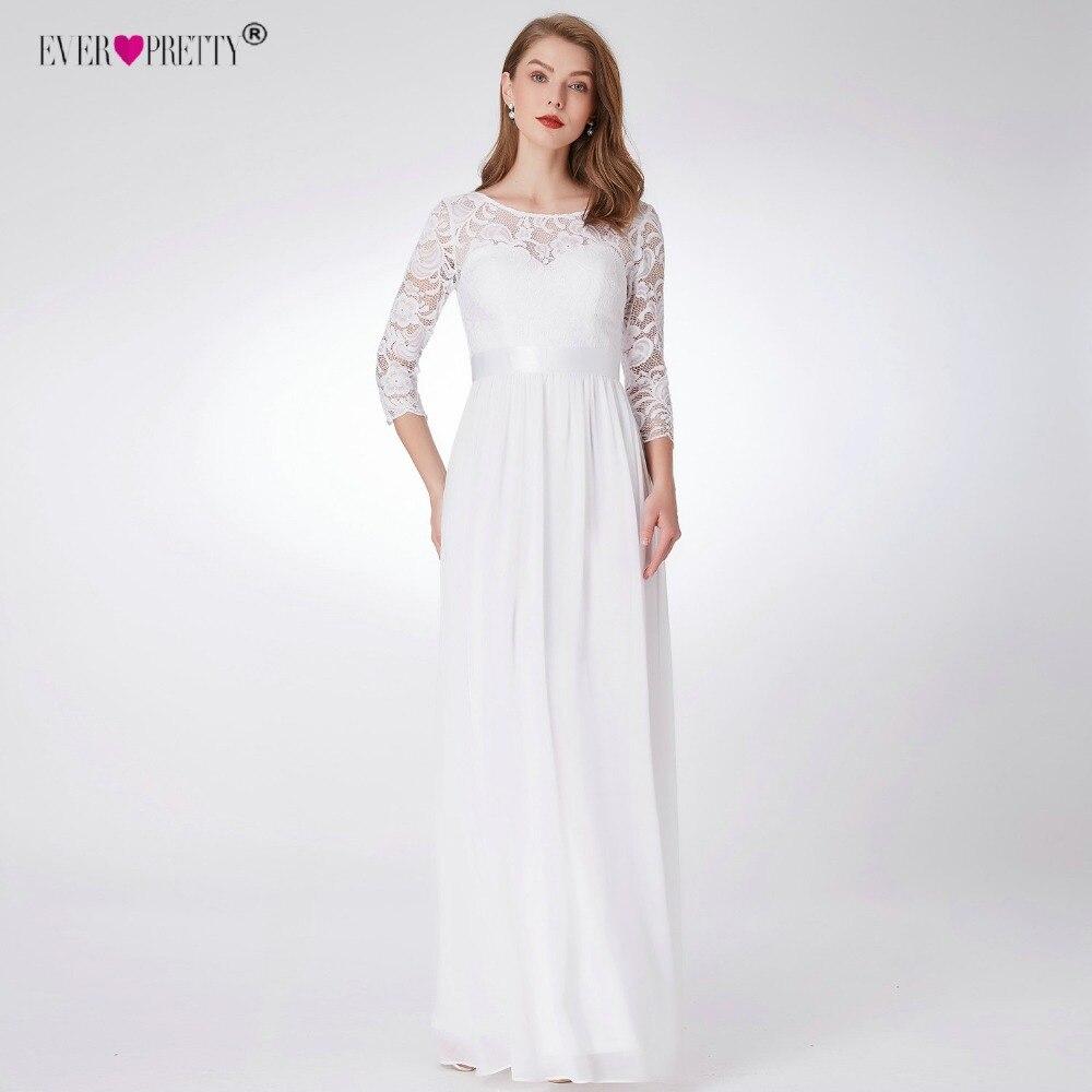 Jamais Assez de Mariage Robes New A-ligne Élégante Dentelle Long Beach Vintage Mariage Robe de Mariée avec Manches robe de noiva EP07412