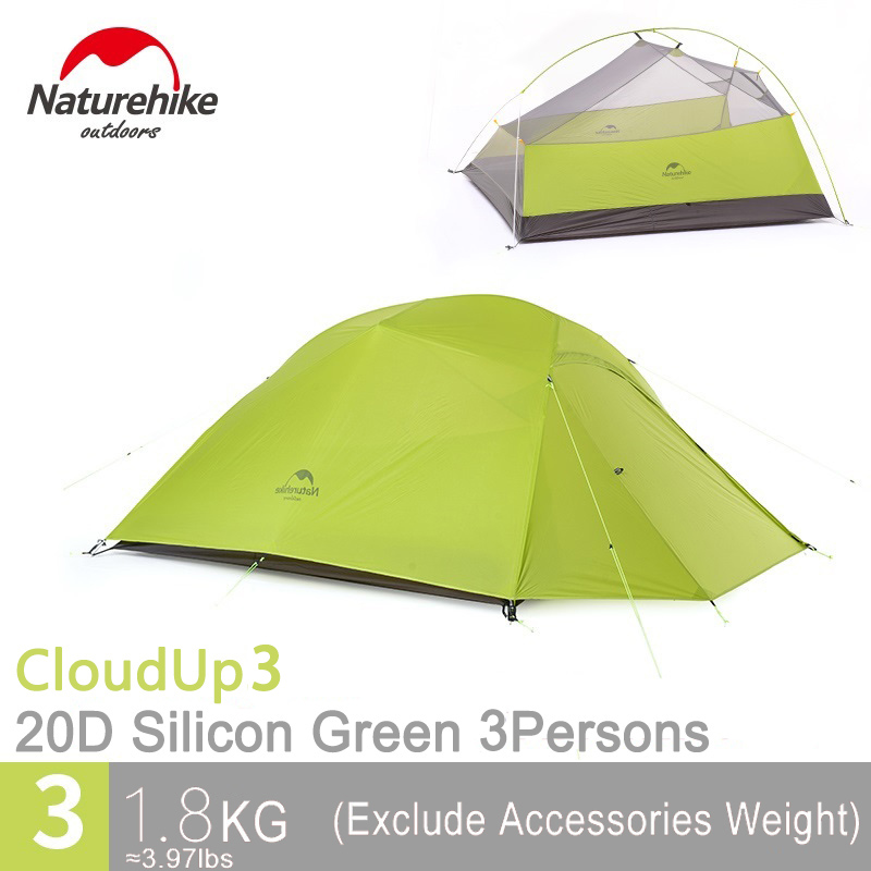 Naturehike 3 Person Camping Tent Ultralight Double Layers Waterproof Tent for Three Persons Outdoor Hiking CloudUp 3 outdoor camping hiking automatic camping tent 4person double layer family tent sun shelter gazebo beach tent awning tourist tent