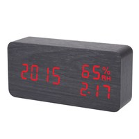 New Black Red Voice Humidity Wooden Clock Electronic Clock LED Alarm Clock Plug Battery Usb Power