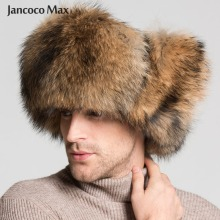 2019 New Arrival Fashion Style Winter Warm Hat Real Fox Raccoon Fur Bomber Hats Men S1576