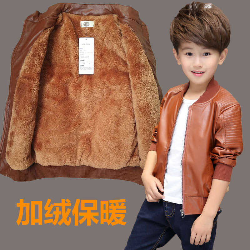 Image 3 - Kids outerwear 2018 Autumn Winter Baby Boys Warm Coat Children Faux Leather Coats Outerwear Boy Clothing 8 10 12 14 Years-in Jackets & Coats from Mother & Kids