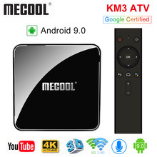 10 pièces Google certifié Androidtv 9.0 MECOOL KM3 TV Box Android 9.0 4GB RAM 64GB 128GB Amlogic S905X2 4K voix 5G Wifi(China)
