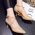 Cross-Strap Genuine Leather Pumps Spring And Autumn 2016 Pointed Toe Women's Shoes Work Shoes Fashion Thin Heels Small Size 33