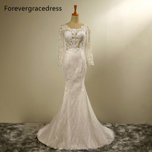 Forevergracedress New Design Mermaid Long Sleeves Wedding Dress Scoop Neck Lace With Lace Up Back Bridal Gown Plus Size