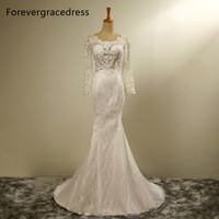 Forevergracedress New Design Mermaid Long Sleeves Wedding Dress Scoop Neck Lace With Lace Up Back Bridal