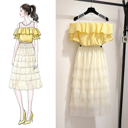 Korean Style Layer Cake Mesh Dress Elegant Sweet Off Shoulder Slim Ladies Dress Summer Women Vestidos