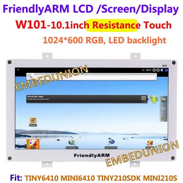 Free shipping , FriendlyARM W101 ,10.1 inch Touch Screen Resistance Touch Display , For TINY6410 MINI6410 TINY210