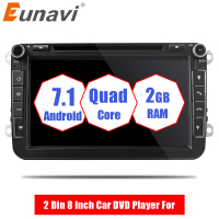 Eunavi 2 Din Android 7,1 8 дюймов dvd плеер автомобиля для VW/Volkswagen/POLO/PASSAT/Golf /TOURAN/SHARAN 4 ядра Wi Fi 3g gps навигации