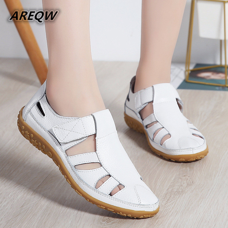 Women Shoes 2019 Hot Fashion Hollow Ballet Genuine Leather Shoes Woman Peas Breathable Soft Flats Female ShoesWomen Shoes 2019 Hot Fashion Hollow Ballet Genuine Leather Shoes Woman Peas Breathable Soft Flats Female Shoes