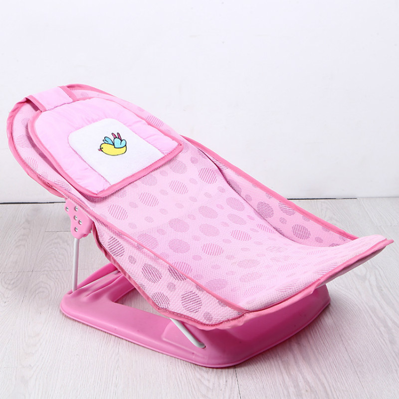 Baby Care Newborn Baby Bather Deluxe Bath Rack Shower Chair Infant folding Sip resistant Bath Chair with Soft Mesh