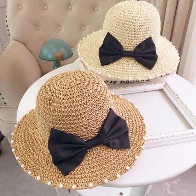 Большой Лук Жемчужина Ручной Тканые Соломенная Шляпа Вдоль Большой Прилив летнее Солнце Шляпу Женский Открытый Складной Повседневная Твердые Пляж Шляпы Для женщины