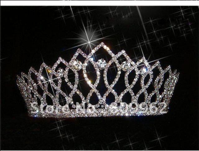 New Free Shipping Fashion Rhinestone Bridal Tiara Crystal Wedding Accessories for Hair Princess Crown Silver Jewelry 100765