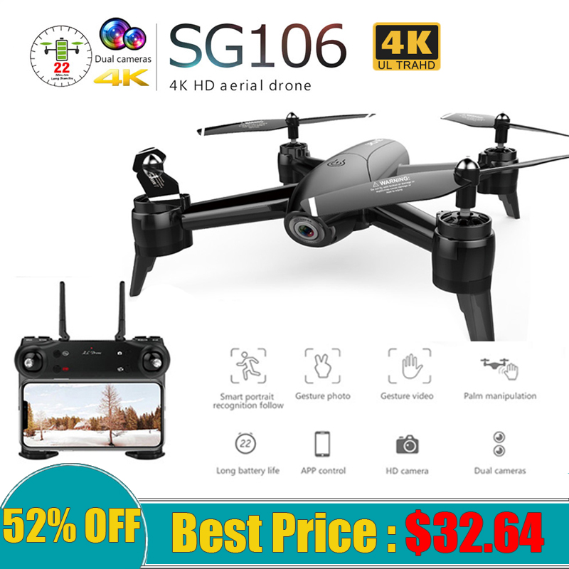 SG106 <font><b>Drone</b></font> with Dual Camera 1080P 720P 4K WiFi FPV Real Time Aerial Video Wide Angle Optical Flow RC Quadcopter Helicopter Toys image