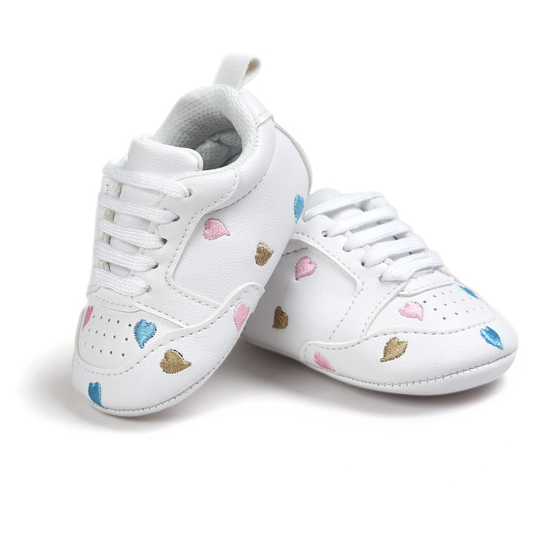 Spring White Printed Cute Baby Casual Infant Toddler Kids Anti-skid Casual Lace Up Baby Shoes