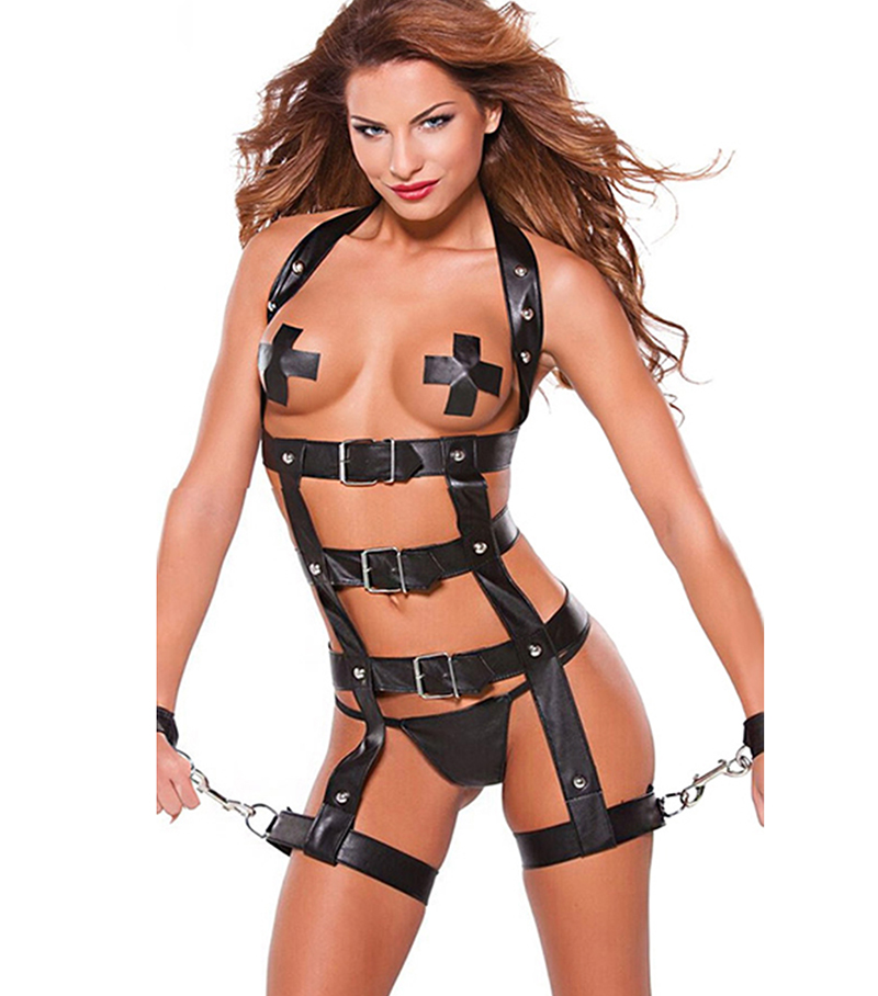 Buy Sexy Bondage PU Leather Catsuit Fetish Wear Wetlook Faux Leather Clothing Latex Catsuit+Handcuffs+Nipple Covers Sexy Lingerie