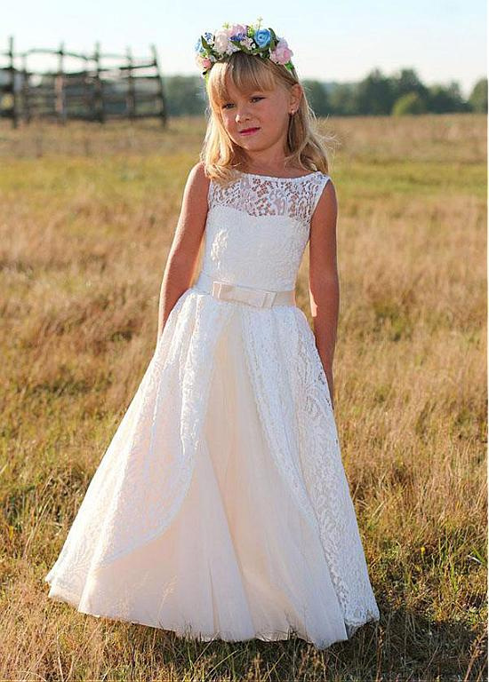 Lace Flower Girl Dress 2018 Sleeveless Kids Dresses for Girl Princess Toddler Girl Dresses for Straight First Communion Dresses