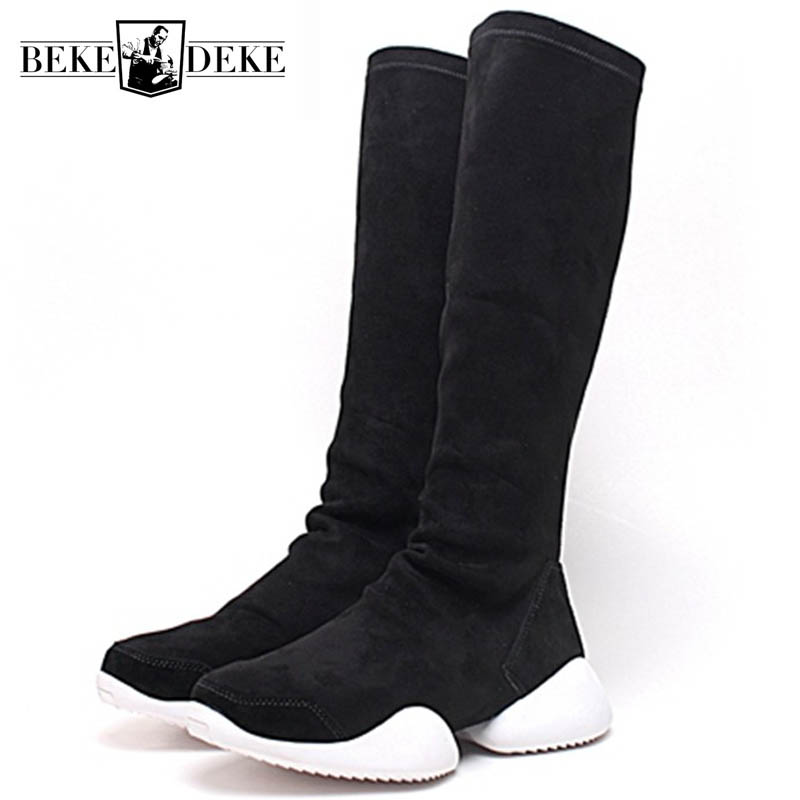 Men Sock Shoes Mid Calf Boots Flock Luxury Trainers Riding Winter Casual Sneakers Lovers Flats Shoes Black Plus Size 45 Boots
