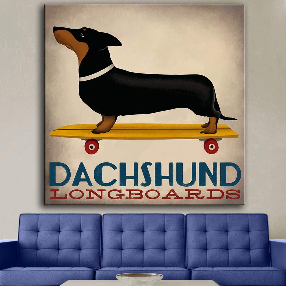 popular dachshund posterbuy cheap dachshund poster lots from  - hdartisan canvas art animal poster dachshund langboards oil painting homedecor wall pictures for living room