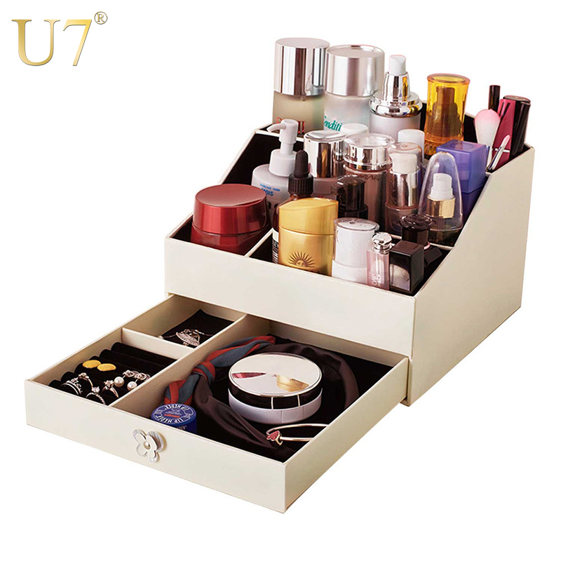 U7 Women Makeup Cosmetic Case Jewelry Storage Organizer Drawer Box Big High Quality PU Leather Chic Decoration Gift For Her OB07 u7 watch holder and jewelry organizer box chic storage drawer case black high quality pu leather gift for men women ob08