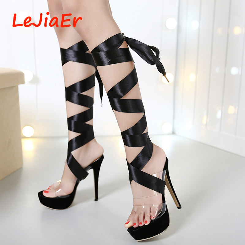 transparent shoes women summer slippers High Heels crystal shoes ...