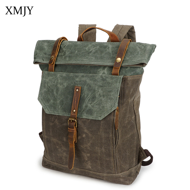 XMJY Men Backpacks Canvas Fashion Vintage Travel School Bags Waterproof Large Capacity Laptop Backpack Fashion Leisure Rucksacks new vintage backpack canvas men shoulder bags leisure travel school bag unisex laptop backpacks men backpack mochilas armygreen