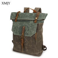 XMJY Men Backpacks Canvas Fashion Vintage Travel School Bags Waterproof Large Capacity Laptop Backpack Fashion Leisure