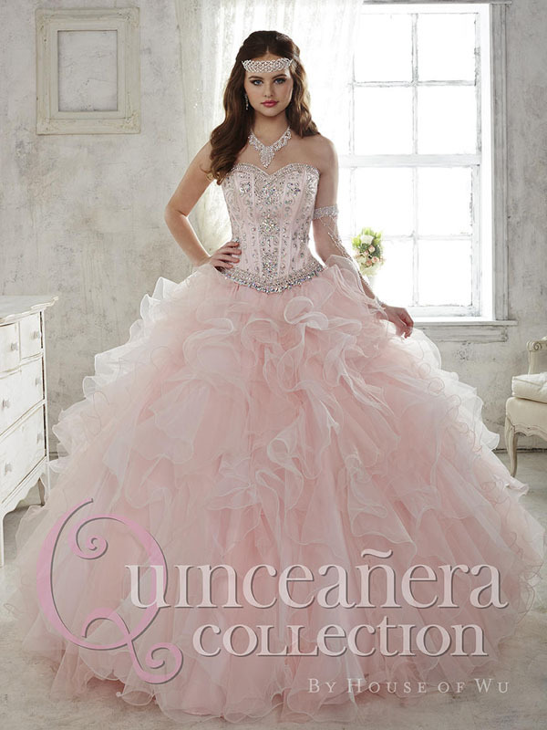 2016 blush quinceanera dresses ball gown jeweled beaded on organza ruffled puffy pink sweet 15