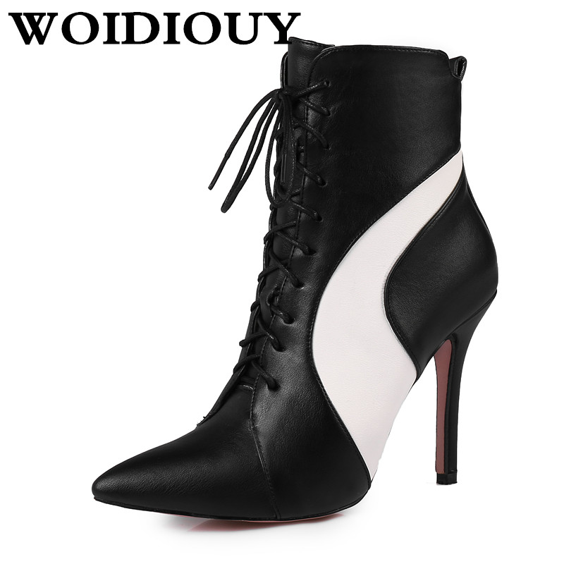 High Thick heel pointed boots Lace up contrast color zip high boots Pointed boots White Black Patchwork office wedding shoes classic contrast color club mini dress black white